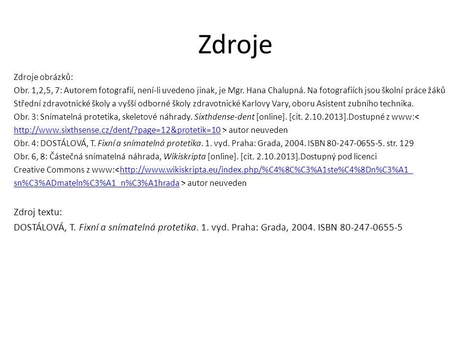Zdroje Zdroje obrázků: Obr. 1,2,5, 7: Autorem fotografií, není-li uvedeno jinak, je Mgr.