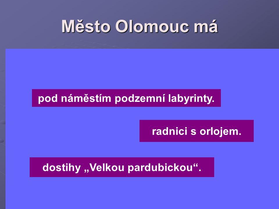 """Město Olomouc má pod náměstím podzemní labyrinty. radnici s orlojem. dostihy """"Velkou pardubickou""""."""