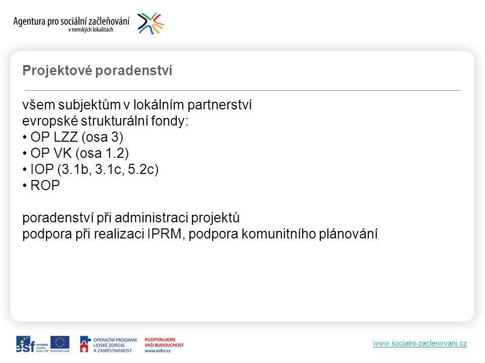 www.socialni-zaclenovani.cz Projektové poradenství všem subjektům v lokálním partnerství evropské strukturální fondy: OP LZZ (osa 3) OP VK (osa 1.2) IOP (3.1b, 3.1c, 5.2c) ROP poradenství při administraci projektů podpora při realizaci IPRM, podpora komunitního plánování