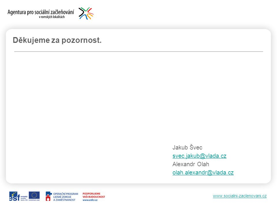 www.socialni-zaclenovani.cz Děkujeme za pozornost. Jakub Švec svec.jakub@vlada.cz Alexandr Olah olah.alexandr@vlada.cz