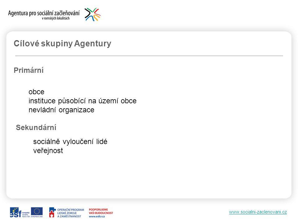 www.socialni-zaclenovani.cz Cílové skupiny Agentury Primární obce instituce působící na území obce nevládní organizace Sekundární sociálně vyloučení lidé veřejnost