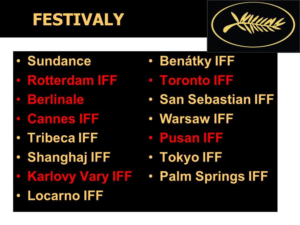 FESTIVALY Sundance Rotterdam IFF Berlinale Cannes IFF Tribeca IFF Shanghaj IFF Karlovy Vary IFF Locarno IFF Benátky IFF Toronto IFF San Sebastian IFF Warsaw IFF Pusan IFF Tokyo IFF Palm Springs IFF