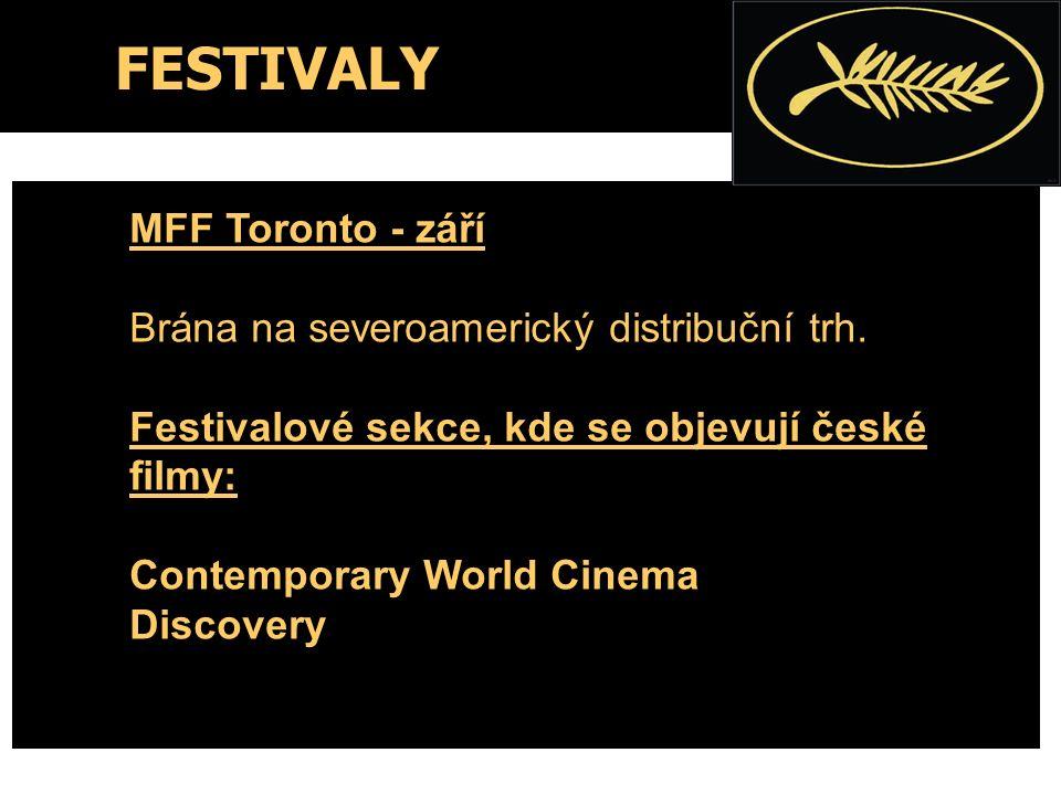 FESTIVALY MFF Toronto - září Brána na severoamerický distribuční trh. Festivalové sekce, kde se objevují české filmy: Contemporary World Cinema Discov
