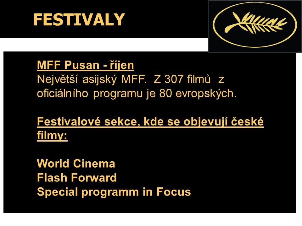 FESTIVALY MFF Pusan - říjen Největší asijský MFF. Z 307 filmů z oficiálního programu je 80 evropských. Festivalové sekce, kde se objevují české filmy: