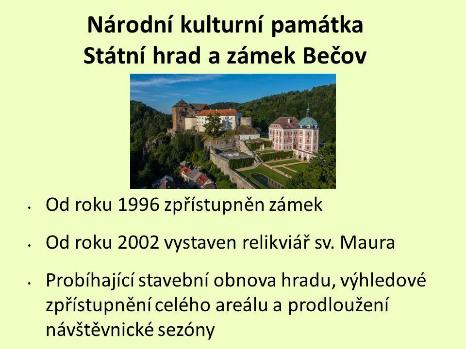 Národní kulturní památka Státní hrad a zámek Bečov Od roku 1996 zpřístupněn zámek Od roku 2002 vystaven relikviář sv.