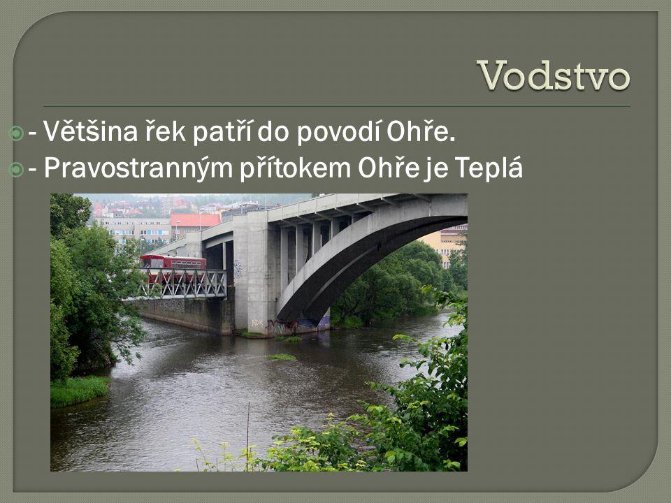  - Většina řek patří do povodí Ohře.  - Pravostranným přítokem Ohře je Teplá