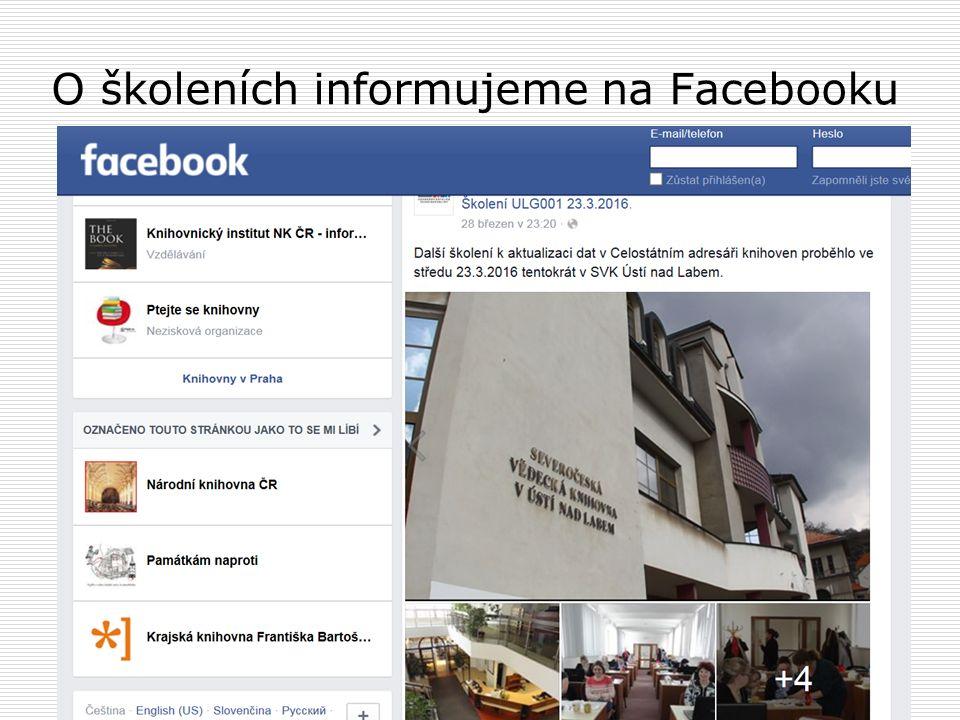 O školeních informujeme na Facebooku