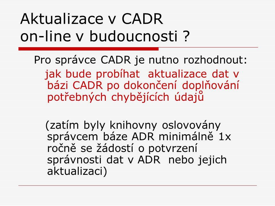 Aktualizace v CADR on-line v budoucnosti .