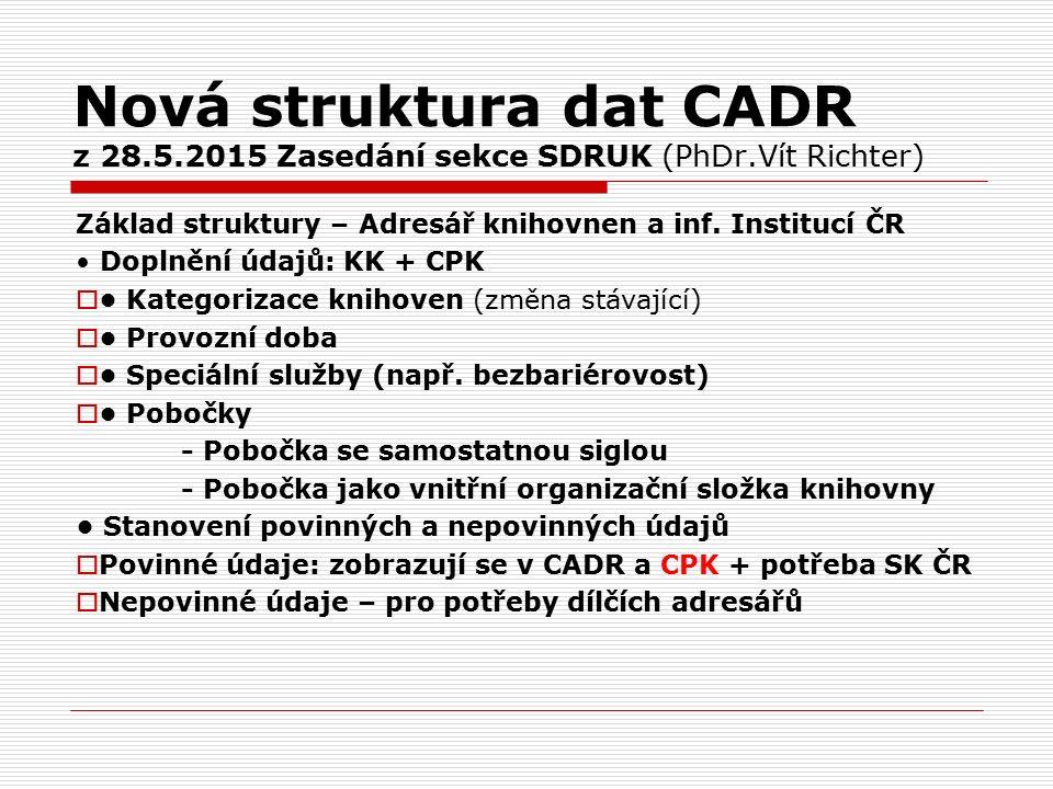 Nová struktura dat CADR z 28.5.2015 Zasedání sekce SDRUK (PhDr.Vít Richter) Základ struktury – Adresář knihovnen a inf.