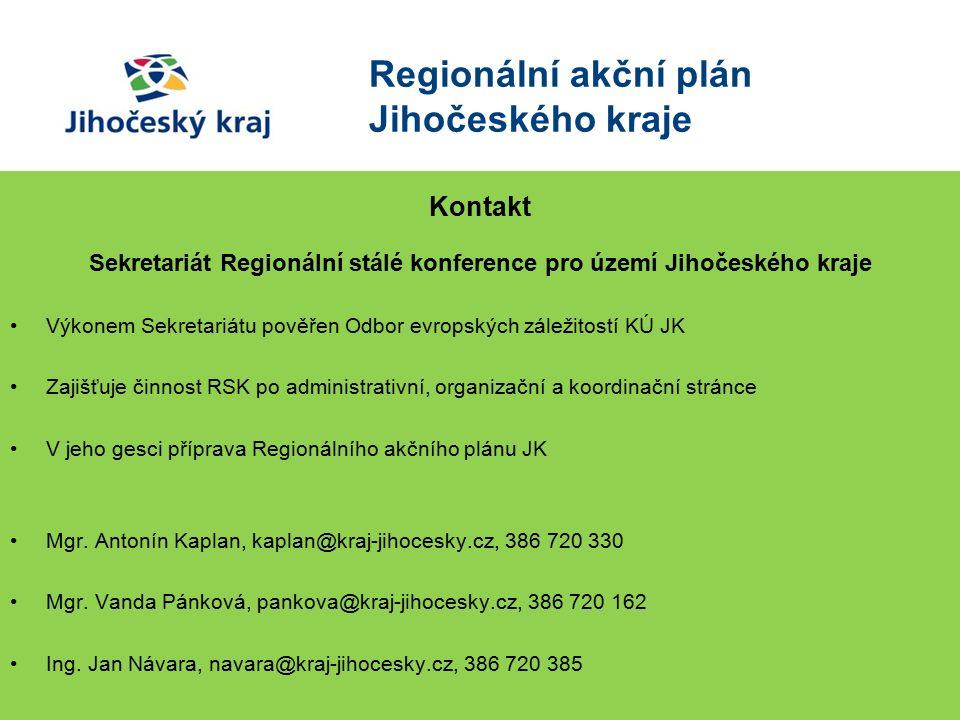 Kontakt Sekretariát Regionální stálé konference pro území Jihočeského kraje Výkonem Sekretariátu pověřen Odbor evropských záležitostí KÚ JK Zajišťuje činnost RSK po administrativní, organizační a koordinační stránce V jeho gesci příprava Regionálního akčního plánu JK Mgr.