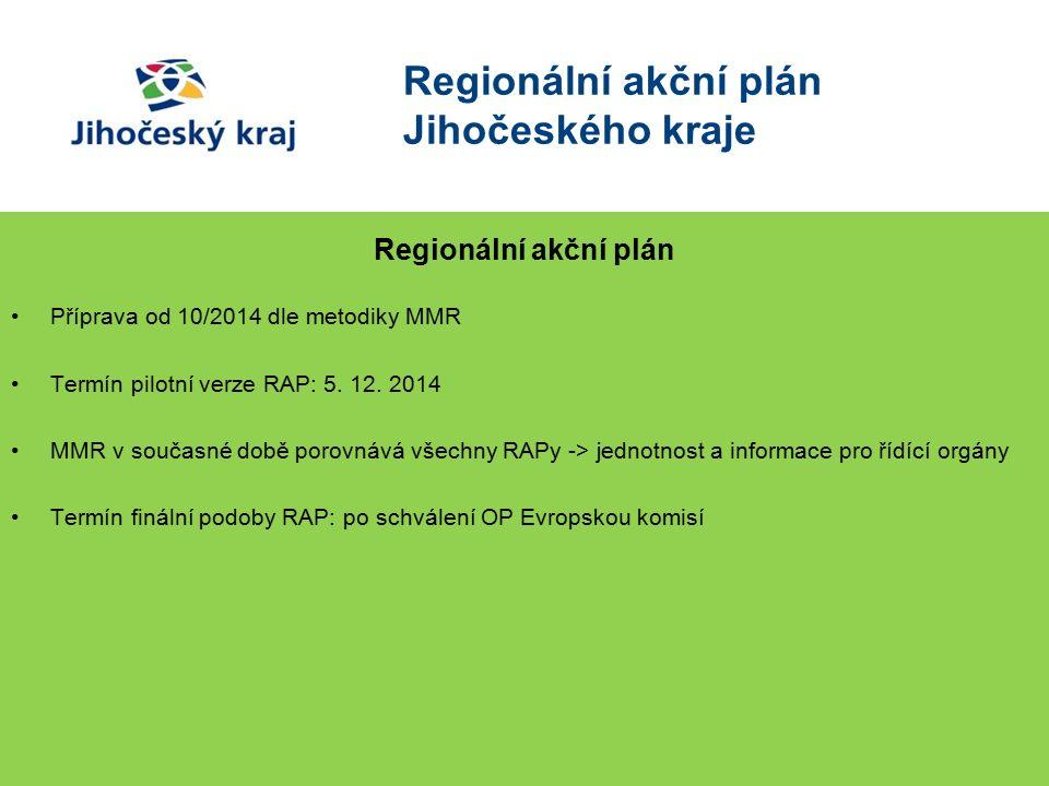 Regionální akční plán Jihočeského kraje Regionální akční plán Příprava od 10/2014 dle metodiky MMR Termín pilotní verze RAP: 5.