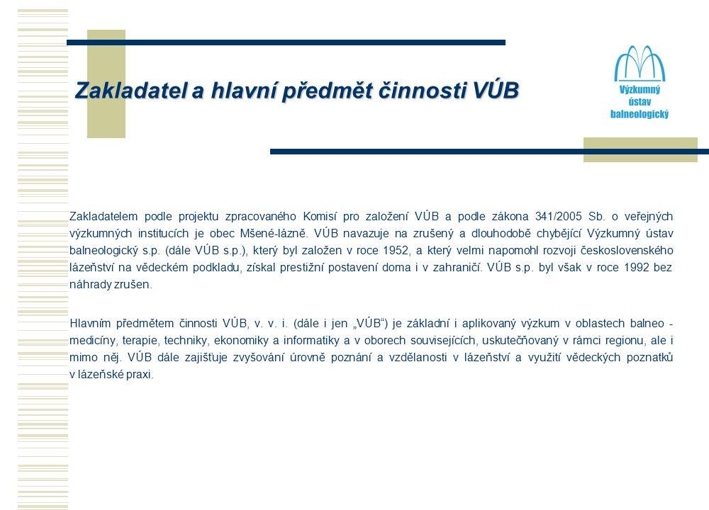 Zakladatel a hlavní předmět činnosti VÚB Zakladatelem podle projektu zpracovaného Komisí pro založení VÚB a podle zákona 341/2005 Sb.