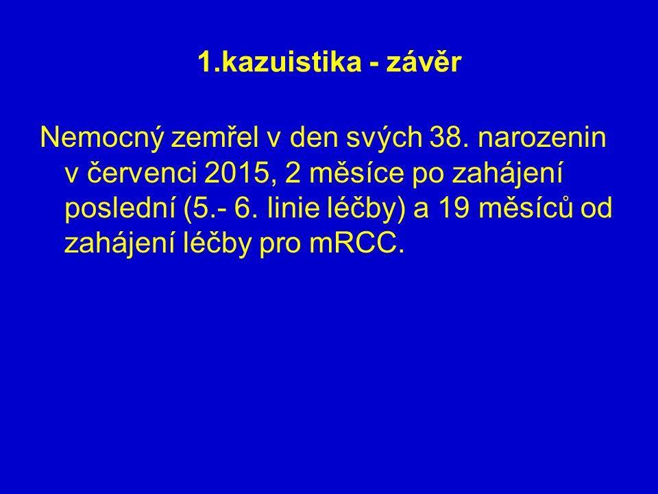 1.kazuistika - závěr Nemocný zemřel v den svých 38. narozenin v červenci 2015, 2 měsíce po zahájení poslední (5.- 6. linie léčby) a 19 měsíců od zaháj