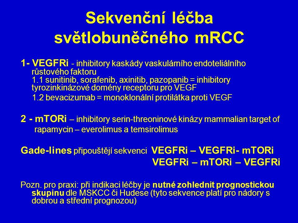 Sekvenční léčba světlobuněčného mRCC 1- VEGFRi - inhibitory kaskády vaskulárního endoteliálního růstového faktoru 1.1 sunitinib, sorafenib, axinitib,