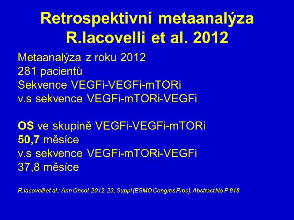 Retrospektivní metaanalýza R.Iacovelli et al. 2012 Metaanalýza z roku 2012 281 pacientů Sekvence VEGFi-VEGFi-mTORi v.s sekvence VEGFi-mTORi-VEGFi OS v