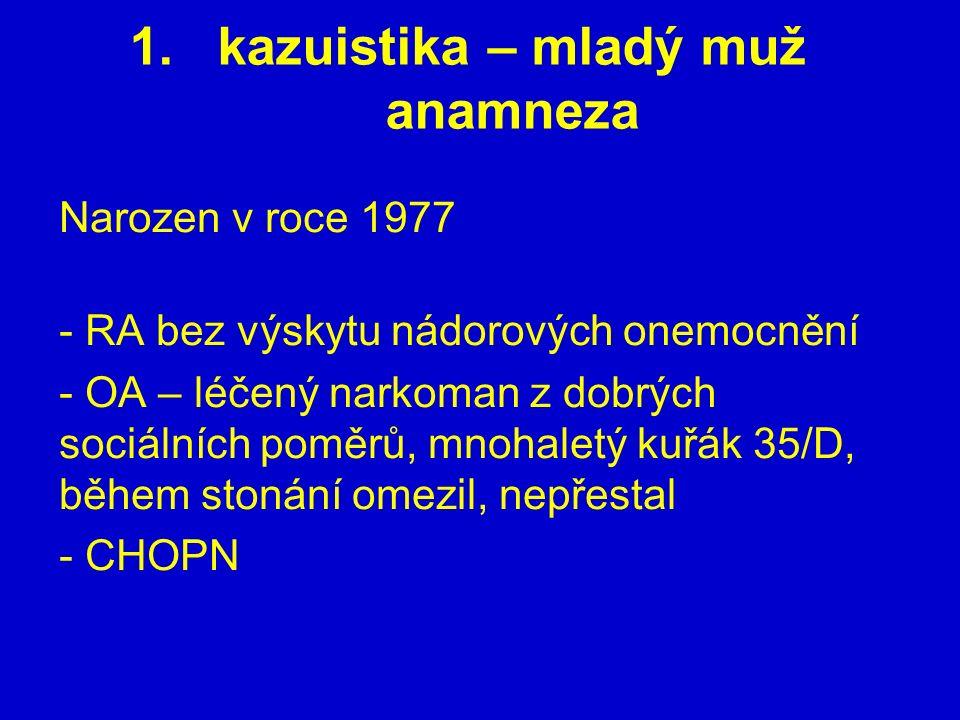 1.kazuistika – mladý muž anamneza Narozen v roce 1977 - RA bez výskytu nádorových onemocnění - OA – léčený narkoman z dobrých sociálních poměrů, mnoha