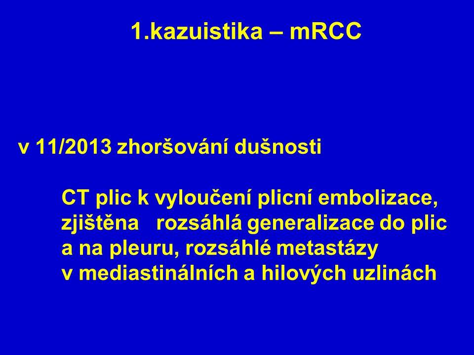 v 11/2013 zhoršování dušnosti CT plic k vyloučení plicní embolizace, zjištěna rozsáhlá generalizace do plic a na pleuru, rozsáhlé metastázy v mediasti