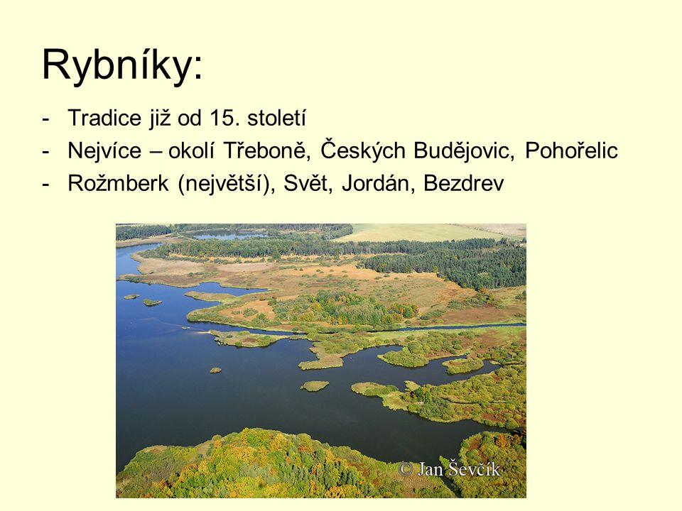 Rybníky: -Tradice již od 15. století -Nejvíce – okolí Třeboně, Českých Budějovic, Pohořelic -Rožmberk (největší), Svět, Jordán, Bezdrev