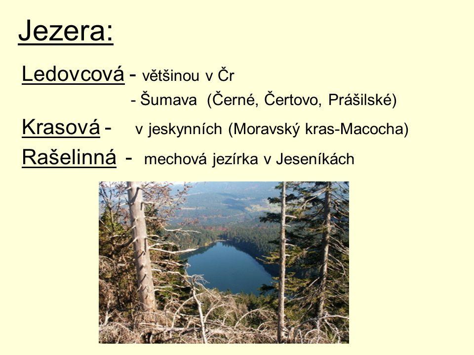 Jezera: Ledovcová - většinou v Čr - Šumava (Černé, Čertovo, Prášilské) Krasová - v jeskynních (Moravský kras-Macocha) Rašelinná - mechová jezírka v Je
