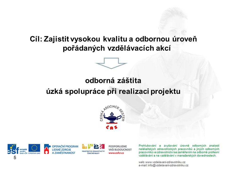 Cíl: Zajistit vysokou kvalitu a odbornou úroveň pořádaných vzdělávacích akcí odborná záštita úzká spolupráce při realizaci projektu 5