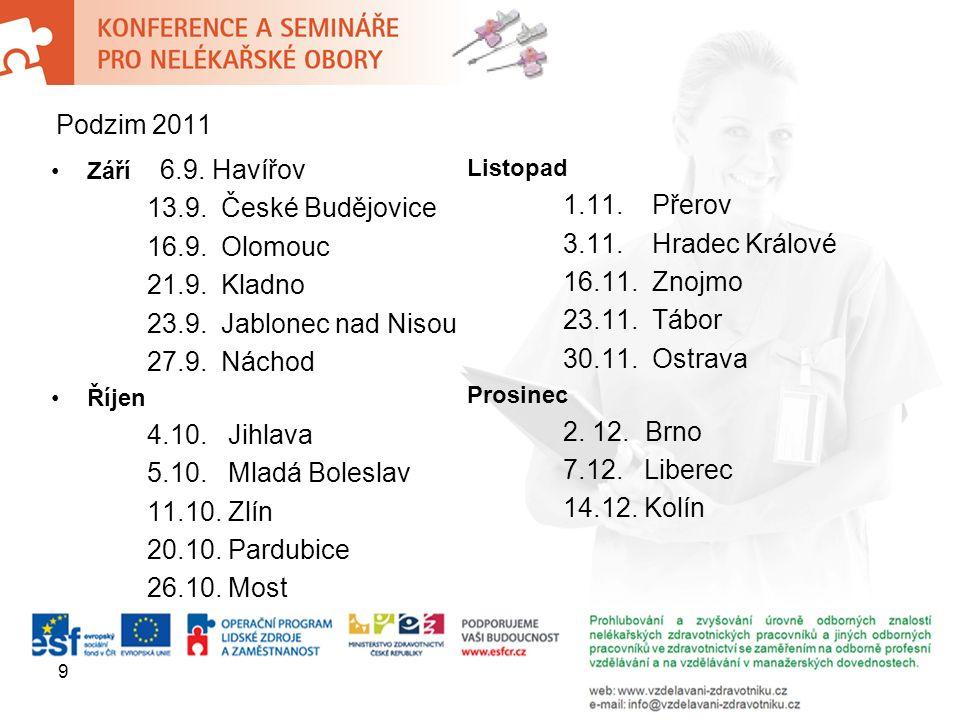 Září 6.9.Havířov 13.9. České Budějovice 16.9. Olomouc 21.9.