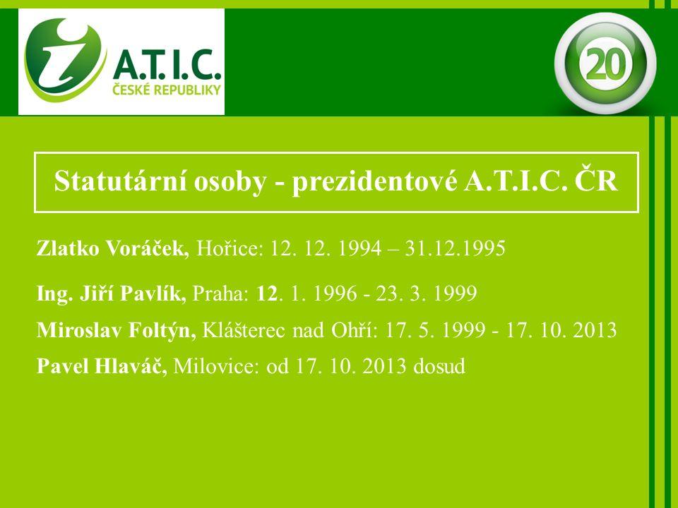 Statutární osoby - prezidentové A.T.I.C. ČR Zlatko Voráček, Hořice: 12.