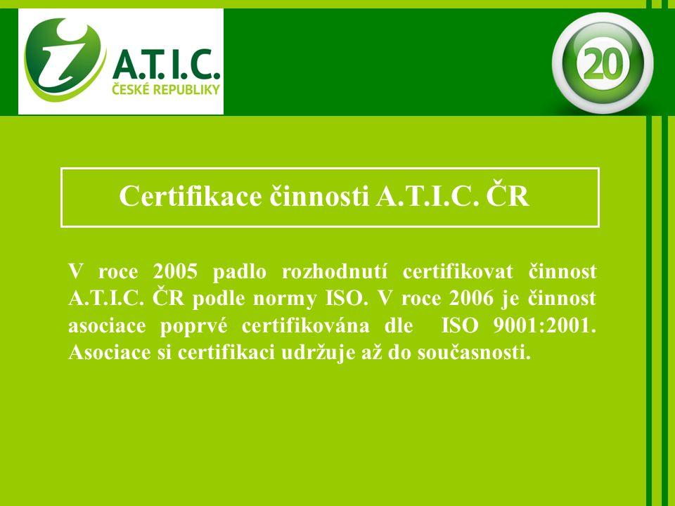Certifikace činnosti A.T.I.C. ČR V roce 2005 padlo rozhodnutí certifikovat činnost A.T.I.C.