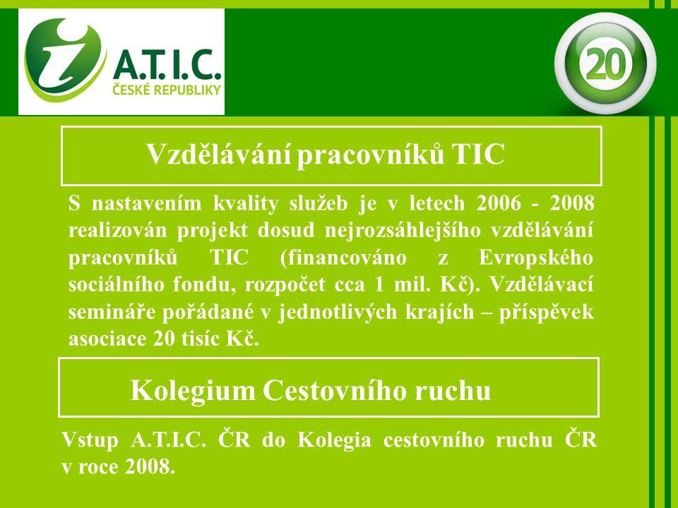 Vzdělávání pracovníků TIC S nastavením kvality služeb je v letech 2006 - 2008 realizován projekt dosud nejrozsáhlejšího vzdělávání pracovníků TIC (financováno z Evropského sociálního fondu, rozpočet cca 1 mil.
