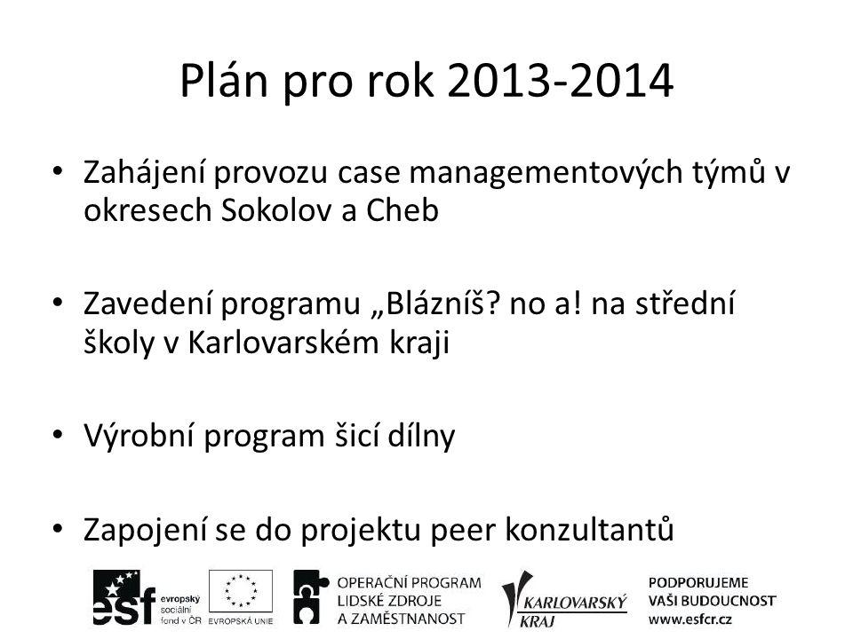 """Plán pro rok 2013-2014 Zahájení provozu case managementových týmů v okresech Sokolov a Cheb Zavedení programu """"Blázníš."""