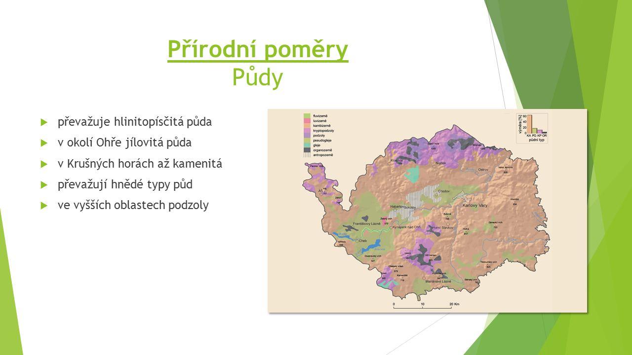 Přírodní poměry Půdy  převažuje hlinitopísčitá půda  v okolí Ohře jílovitá půda  v Krušných horách až kamenitá  převažují hnědé typy půd  ve vyšších oblastech podzoly