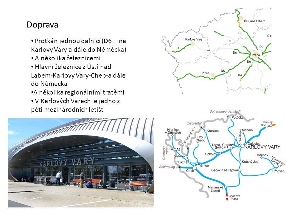 Doprava Protkán jednou dálnicí (D6 – na Karlovy Vary a dále do Něměcka) A několika železnicemi Hlavní železnice z Ústí nad Labem-Karlovy Vary-Cheb-a d