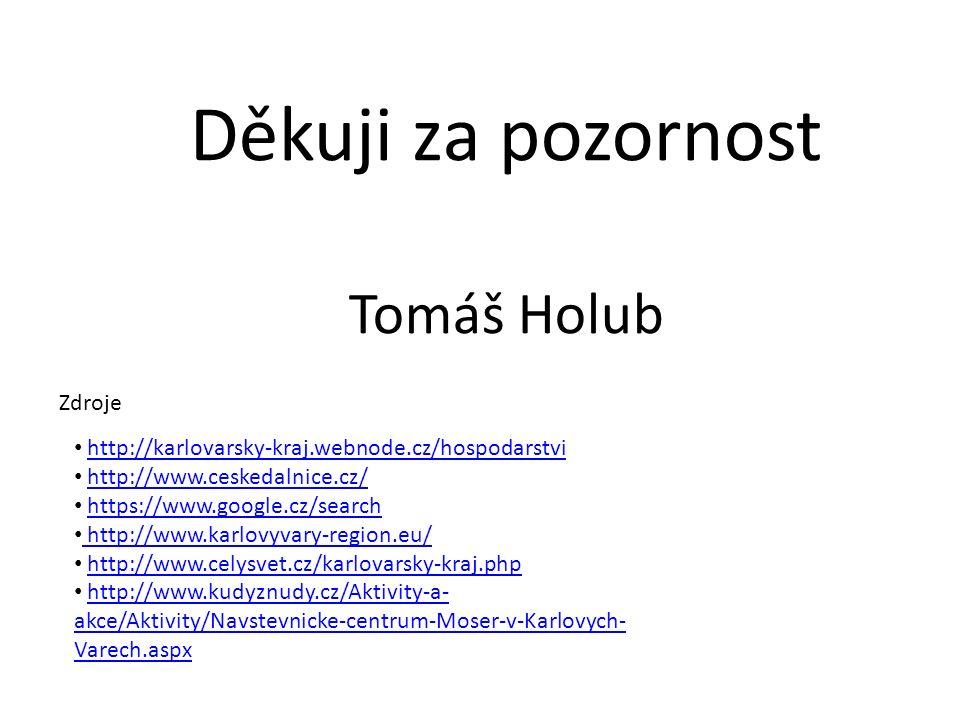 Zdroje Děkuji za pozornost Tomáš Holub http://karlovarsky-kraj.webnode.cz/hospodarstvi http://www.ceskedalnice.cz/ https://www.google.cz/search http://www.karlovyvary-region.eu/ http://www.celysvet.cz/karlovarsky-kraj.php http://www.kudyznudy.cz/Aktivity-a- akce/Aktivity/Navstevnicke-centrum-Moser-v-Karlovych- Varech.aspxhttp://www.kudyznudy.cz/Aktivity-a- akce/Aktivity/Navstevnicke-centrum-Moser-v-Karlovych- Varech.aspx