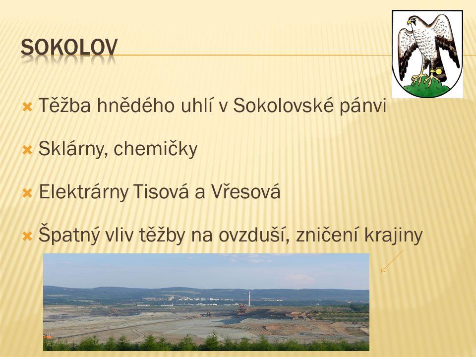  Těžba hnědého uhlí v Sokolovské pánvi  Sklárny, chemičky  Elektrárny Tisová a Vřesová  Špatný vliv těžby na ovzduší, zničení krajiny