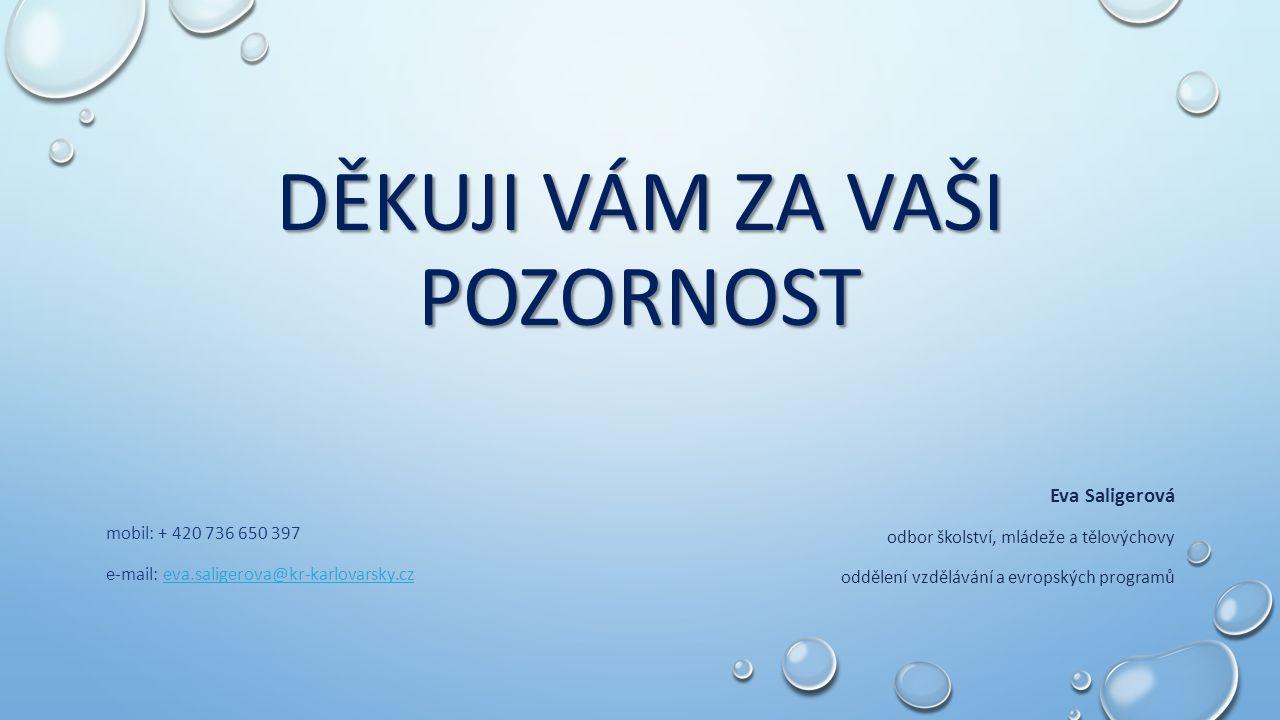 DĚKUJI VÁM ZA VAŠI POZORNOST mobil: + 420 736 650 397 e-mail: eva.saligerova@kr-karlovarsky.czeva.saligerova@kr-karlovarsky.cz Eva Saligerová odbor šk