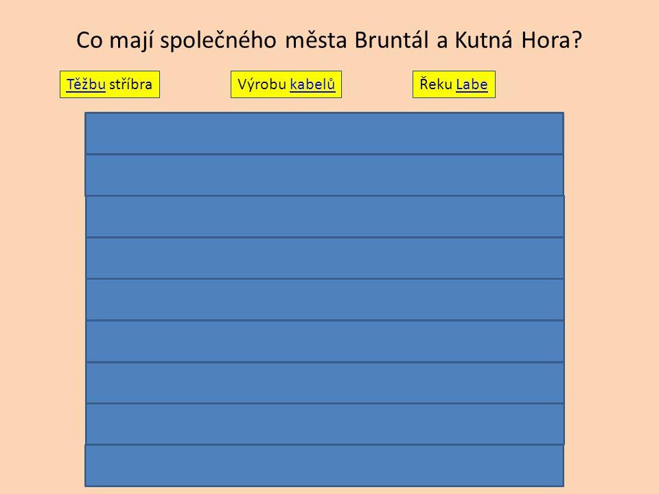 Co mají společného města Bruntál a Kutná Hora? TěžbuTěžbu stříbraVýrobu kabelůkabelůŘeku LabeLabe
