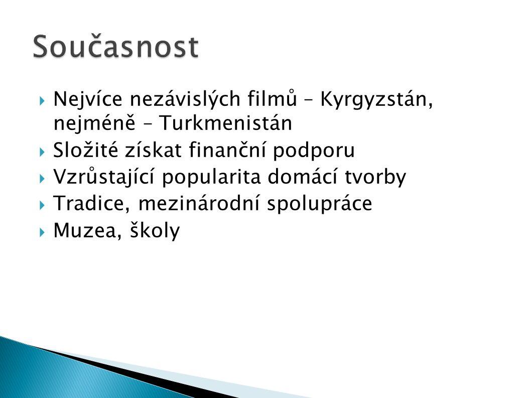 Nejvíce nezávislých filmů – Kyrgyzstán, nejméně – Turkmenistán  Složité získat finanční podporu  Vzrůstající popularita domácí tvorby  Tradice, mezinárodní spolupráce  Muzea, školy