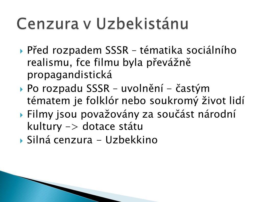  Před rozpadem SSSR – tématika sociálního realismu, fce filmu byla převážně propagandistická  Po rozpadu SSSR – uvolnění - častým tématem je folklór nebo soukromý život lidí  Filmy jsou považovány za součást národní kultury -> dotace státu  Silná cenzura - Uzbekkino