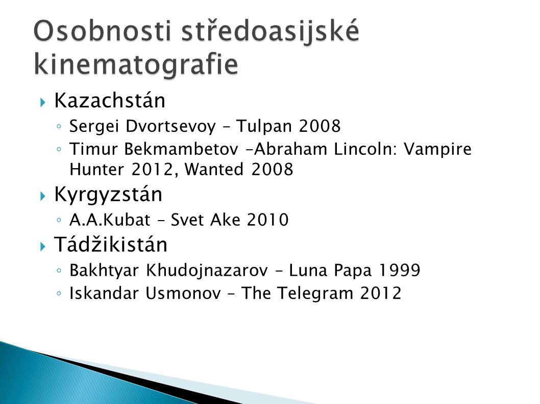  Kazachstán ◦ Sergei Dvortsevoy – Tulpan 2008 ◦ Timur Bekmambetov –Abraham Lincoln: Vampire Hunter 2012, Wanted 2008  Kyrgyzstán ◦ A.A.Kubat – Svet Ake 2010  Tádžikistán ◦ Bakhtyar Khudojnazarov – Luna Papa 1999 ◦ Iskandar Usmonov – The Telegram 2012