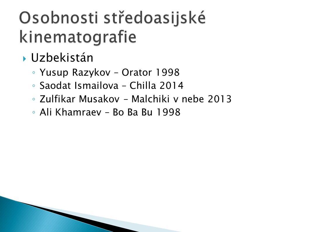  Uzbekistán ◦ Yusup Razykov – Orator 1998 ◦ Saodat Ismailova – Chilla 2014 ◦ Zulfikar Musakov – Malchiki v nebe 2013 ◦ Ali Khamraev – Bo Ba Bu 1998