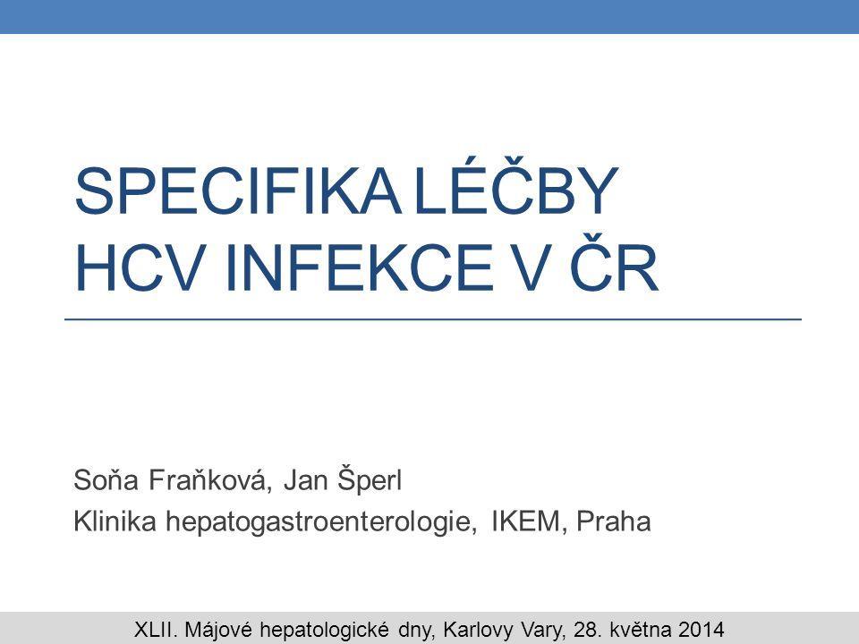 Úvod Infekce virem hepatitidy C je jednou z hlavních příčin onemocnění jater v Evropě (1) Česká republika je země s nízkou prevalencí onemocnění, která se udává mezi 0.2-1.0% (2,3) I přesto je HCV infekce jednou z nejčastějších indikací k transplantaci jater v České republice (4) V současné době standardní léčba (SOC) HCV infekce dvojkombinací peginterferonu a ribavirinu nepodléhá omezením ze strany plátců zdravotní péče V roce 2012 byla schválena úhrada přímo působících antivirotik (bocepreviru a telapreviru), ale počet léčených nemocných je stále malý 1.Muhlberger N, Schwarzer R, Lettmeier B, Sroczynski G, Zeuzem S, Siebert U.