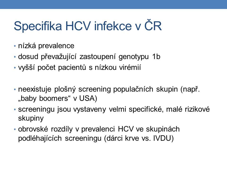 Specifika HCV infekce v ČR nízká prevalence dosud převažující zastoupení genotypu 1b vyšší počet pacientů s nízkou virémií neexistuje plošný screening