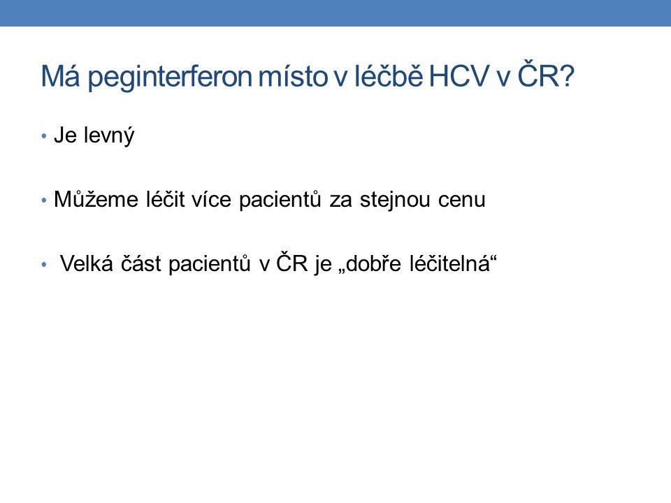 """Má peginterferon místo v léčbě HCV v ČR? Je levný Můžeme léčit více pacientů za stejnou cenu Velká část pacientů v ČR je """"dobře léčitelná"""""""