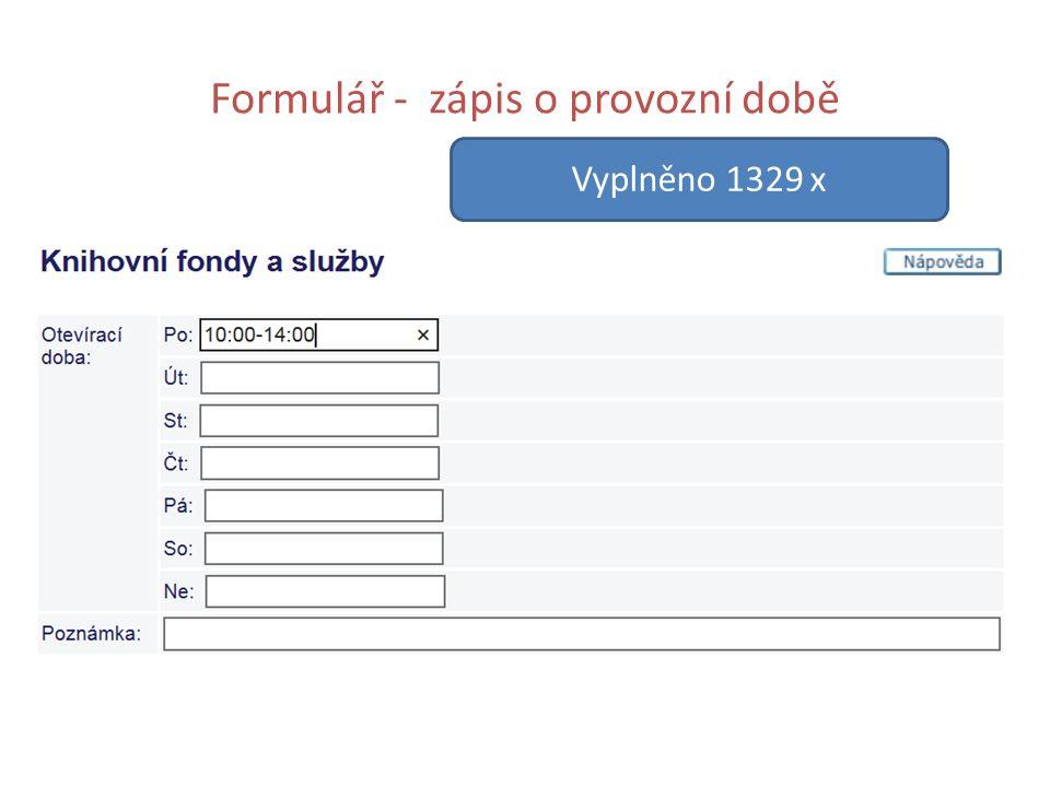 Formulář - zápis o provozní době Vyplněno 1329 x