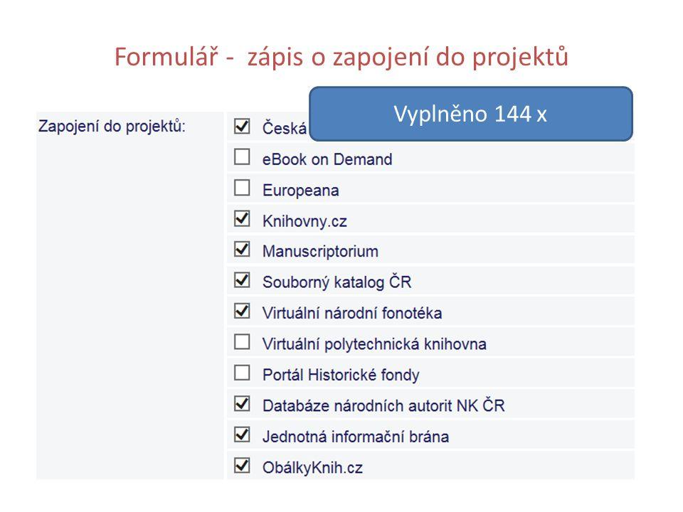 Formulář - zápis o zapojení do projektů Vyplněno 144 x