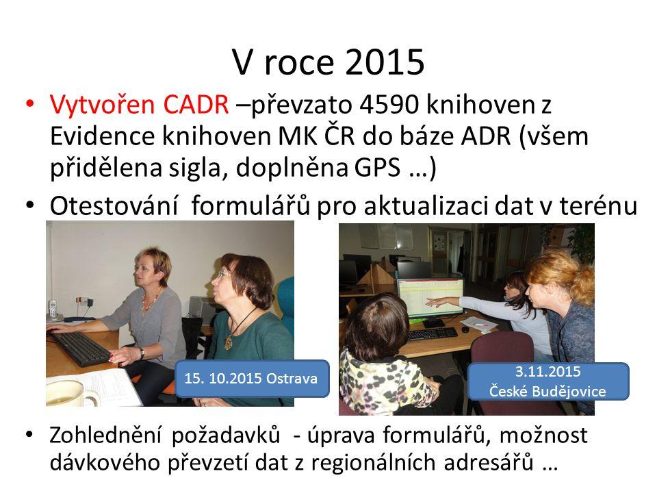 V roce 2015 Vytvořen CADR –převzato 4590 knihoven z Evidence knihoven MK ČR do báze ADR (všem přidělena sigla, doplněna GPS …) Otestování formulářů pr