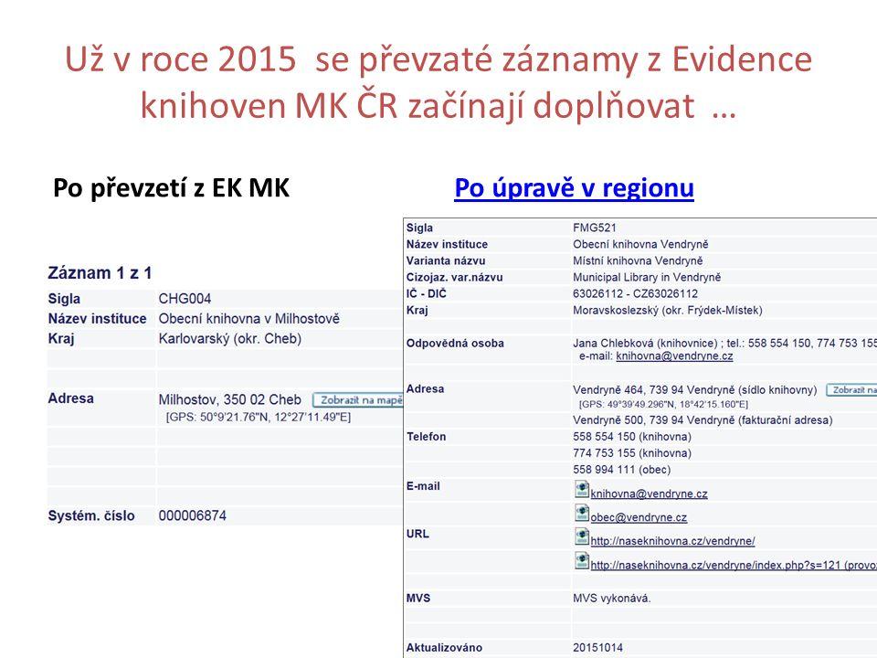 Už v roce 2015 se převzaté záznamy z Evidence knihoven MK ČR začínají doplňovat … Po převzetí z EK MKPo úpravě v regionu