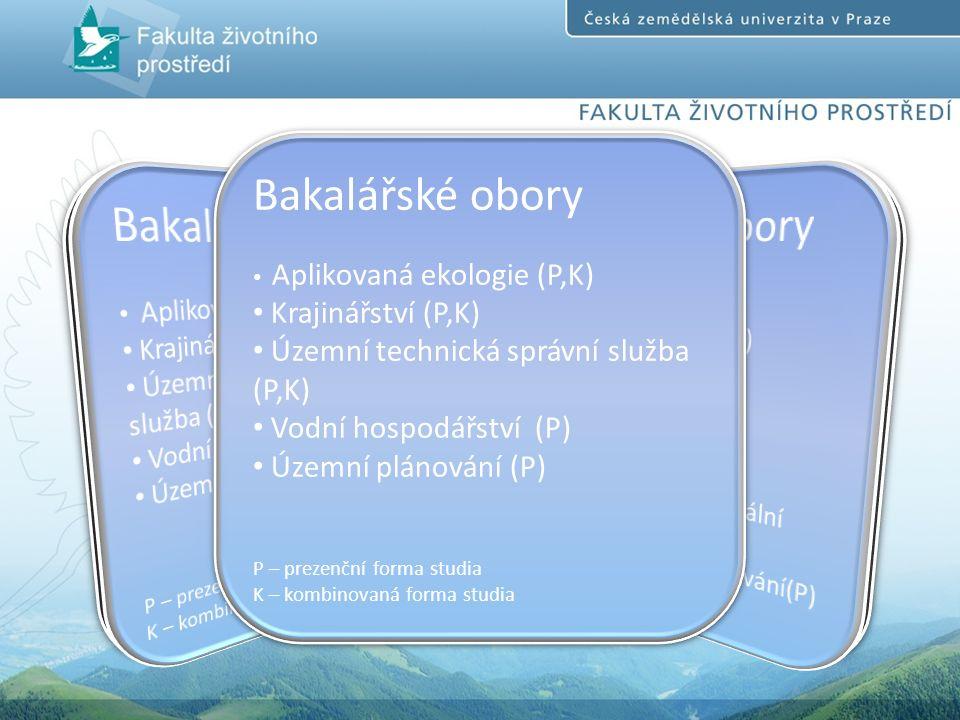Bakalářské obory Aplikovaná ekologie (P,K) Krajinářství (P,K) Územní technická správní služba (P,K) Vodní hospodářství (P) Územní plánování (P) P – prezenční forma studia K – kombinovaná forma studia Bakalářské obory Aplikovaná ekologie (P,K) Krajinářství (P,K) Územní technická správní služba (P,K) Vodní hospodářství (P) Územní plánování (P) P – prezenční forma studia K – kombinovaná forma studia