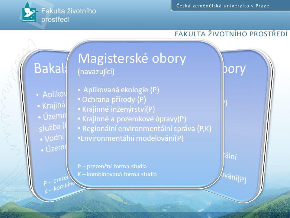 Magisterské obory (navazující) Aplikovaná ekologie (P) Ochrana přírody (P) Krajinné inženýrství(P) Krajinné a pozemkové úpravy(P) Regionální environmentální správa (P,K) Environmentální modelování(P) P – prezenční forma studia K – kombinovaná forma studia Magisterské obory (navazující) Aplikovaná ekologie (P) Ochrana přírody (P) Krajinné inženýrství(P) Krajinné a pozemkové úpravy(P) Regionální environmentální správa (P,K) Environmentální modelování(P) P – prezenční forma studia K – kombinovaná forma studia