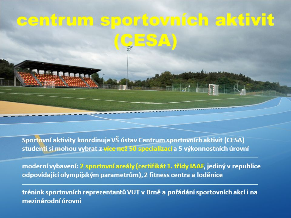 Sportovní aktivity koordinuje VŠ ústav Centrum sportovních aktivit (CESA) studenti si mohou vybrat z více než 50 specializací a 5 výkonnostních úrovní moderní vybavení: 2 sportovní areály (certifikát 1.