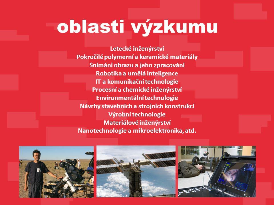 Letecké inženýrství Pokročilé polymerní a keramické materiály Snímání obrazu a jeho zpracování Robotika a umělá inteligence IT a komunikační technologie Procesní a chemické inženýrství Environmentální technologie Návrhy stavebních a strojních konstrukcí Výrobní technologie Materiálové inženýrství Nanotechnologie a mikroelektronika, atd.